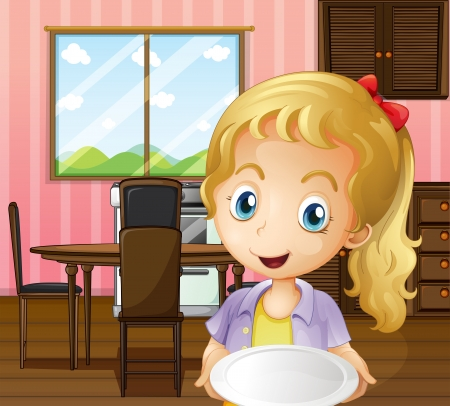 melaware: Illustration of a girl holding an empty plate in the dining area