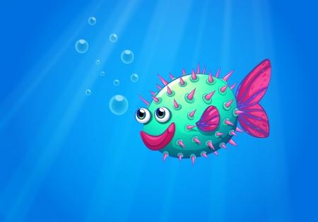 recursos naturales: Ilustración de un pez globo sonriente Vectores