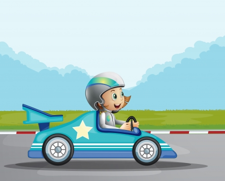 surrounding: Illustration of a happy girl in her blue racing car Illustration