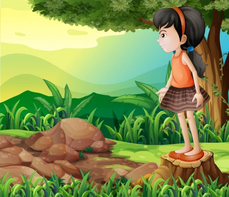 timber cutting: Illustration of a little girl standing above the stump
