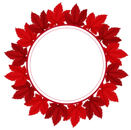Illustration of a red leafy border on a white background Vector