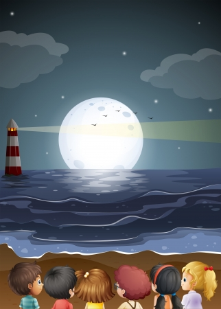 Illustration of the kids watching the fullmoon at the beach Vector