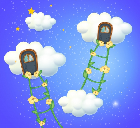 bush mesh: Illustration of the clouds with doors in the sky
