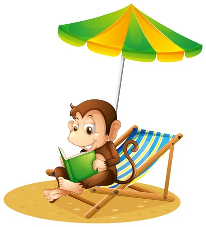 fable: Illustration of a monkey reading a book at the beach on a white background