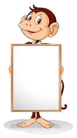 holding blank sign: Illustration of a monkey holding an empty framed banner on a white background