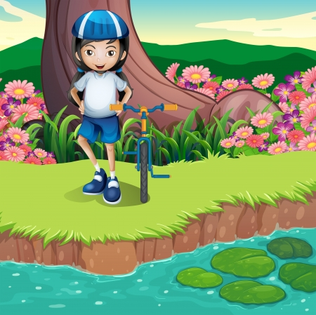 Illustration of a girl and her bicycle at the riverbank