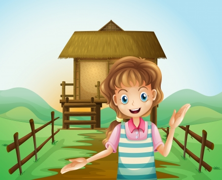 Illustration of a girl in front of the nipa hut Vector