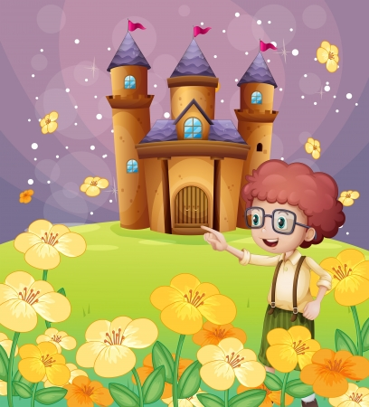 flaglets: Illustration of a boy pointing near the flowers in the hill with a castle