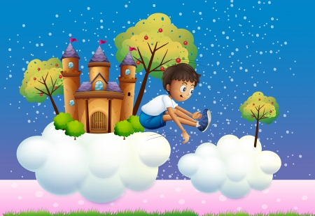 flaglets: Illustration of a boy jumping near the castle