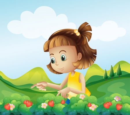 Illustration of a little girl at the strawberry farm Vector