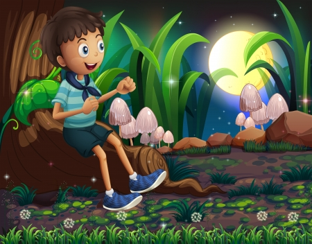 Illustration of a young boy sitting above the roots of a giant tree Vector