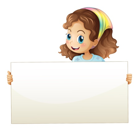 Illustration of a girl holding a banner on a white background Vector