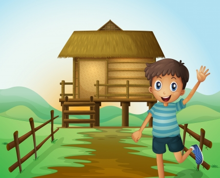 Illustration of a boy waving his hand in front of a nipa hut Vector