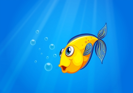 sea side: Illustration of a yellow fish swimming under the sea