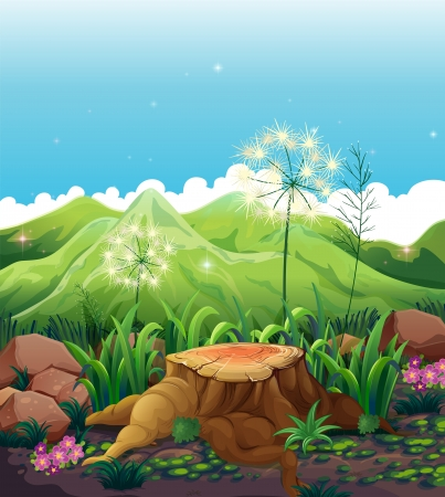 Illustration of a stump near the mountains Stock Vector - 21235629