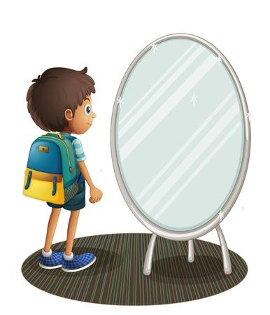 흰색 배경에 거울을 마주하는 소년의 그림