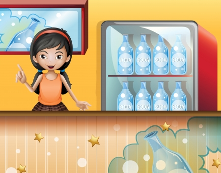 Illustration of a young lady selling soda