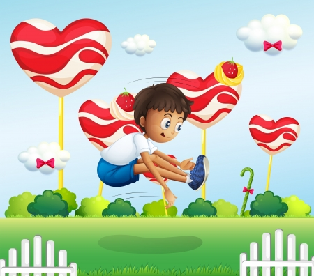 hopping: Illustration of a boy jumping in the field with giant lollipops