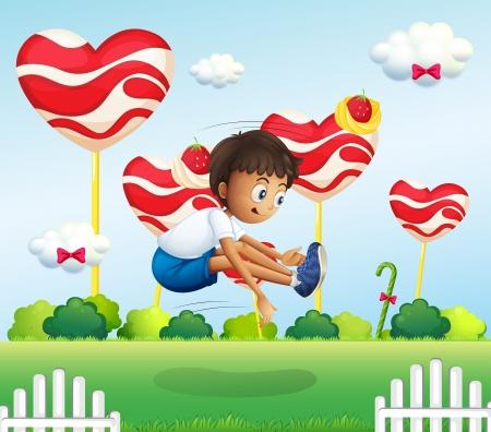 jumping fence: Ilustración de un niño saltando en el campo con piruletas gigantes