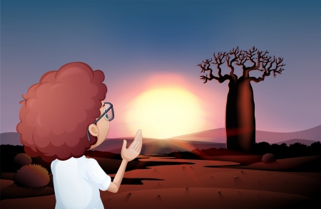 one child: Illustration of a curly boy watching the sunset in the desert