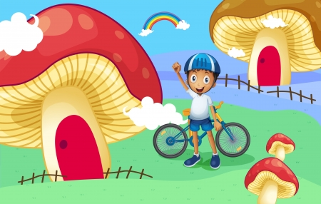 giant mushroom: Illustration of a young biker near the giant mushroom house