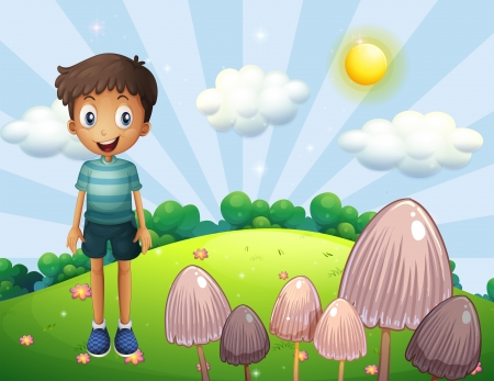 Illustration of a happy boy at the hill with mushrooms