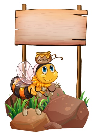 Illustration of a bee above the rock near the empty signage on a white background