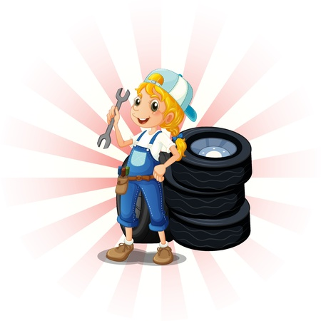 flat tyre: Illustration of a female mechanic in front of the tires on a white background