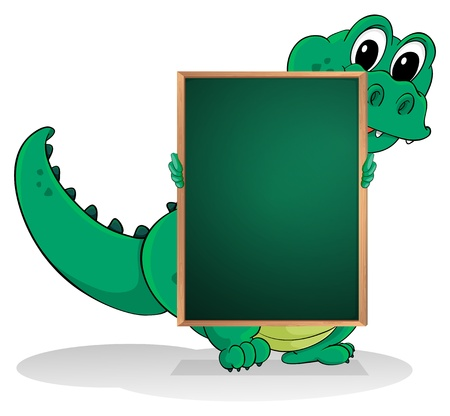 Illustration of a small crocodile at the back of an empty greenboard on a white background Vector