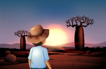 Illustration of a boy with a hat watching the sunset in the desert Vector