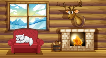 log wall: Illustration of a cat sleeping above the chair near the fireplace Illustration
