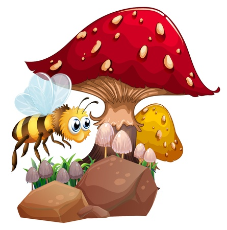 giant mushroom: Illustration of a bee near the giant red mushroom on a white background