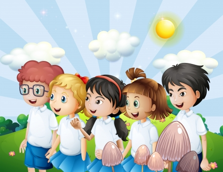 Illustration of the kids in their school uniform walking at the hill Vector