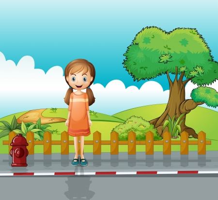 Illustration of a small girl standing near the wooden fence Vector