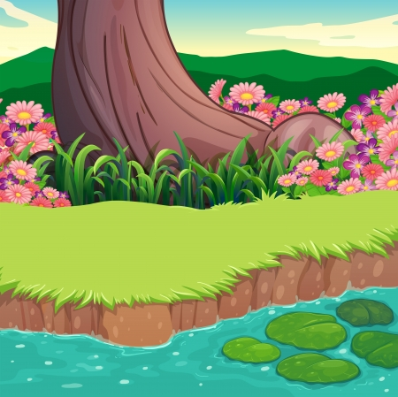 garden pond: Illustration of a scenery at the riverbank