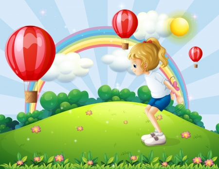 Illustration of a girl playing in the hill with floating balloons Vector