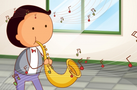 in tune: Illustration of a man playing a saxophone Illustration