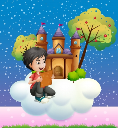 Illustration of a boy reading a book in front of the floating castle Vector