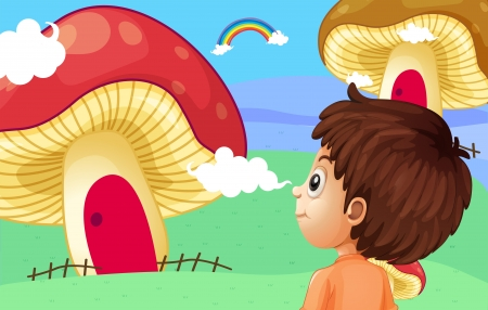 Illustration of a young boy watching the giant mushroom houses Stock Vector - 21235734
