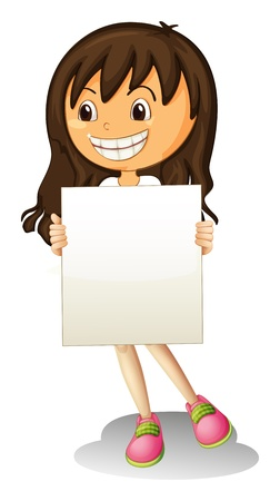 Illustration of a happy girl holding an empty signage on a white background Stock Vector - 21235736