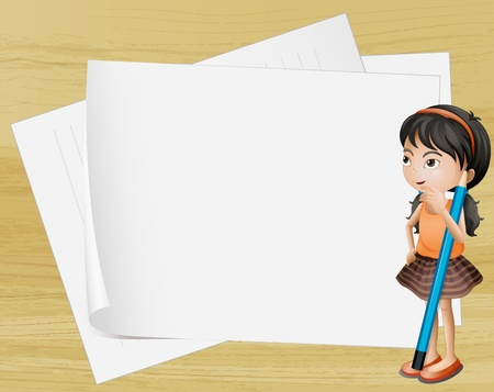 pointed: Illustration of a girl thinking near the empty papers