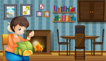 dressmaker: Illustration of a mother sewing near the fireplace
