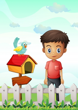 Illustration of a boy near the pethouse with a bird and a wooden arrowboard Vector