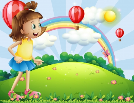 Illustration of a young girl at the hilltop watching the floating balloons Stock Vector - 21425775