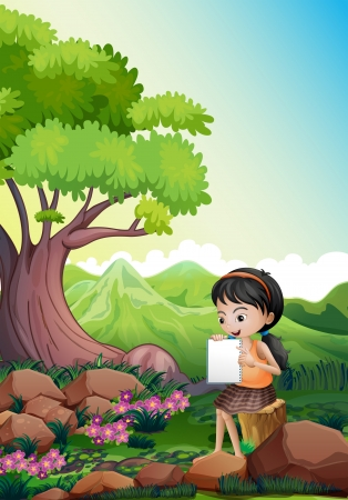 assignment: Illustration of a girl doing her assignment outdoor