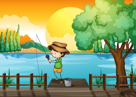 Illustration of a man fishing Vector