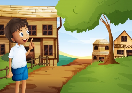 Illustration of a boy at the pathway in the neighborhood Vector