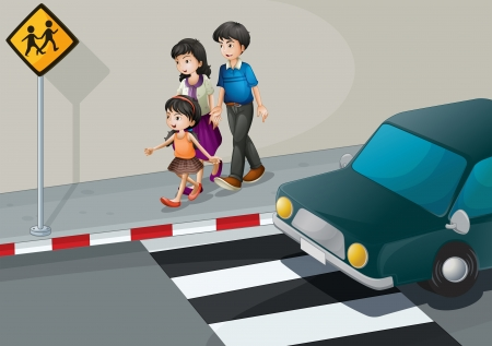 Illustration of a family walking at the street Illustration