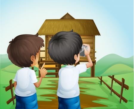 hobby hut: Illustration of the boys taking photos at the farm Illustration
