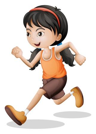10 代の白い背景の上にジョギングの図